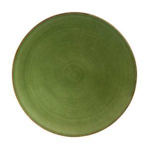 classic round grenn gloss with brown rim platter