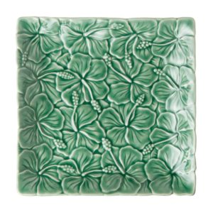 dark green gloss hibiscus plate