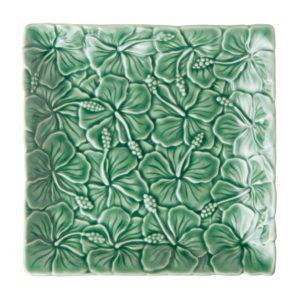 dark green gloss hibiscus plate