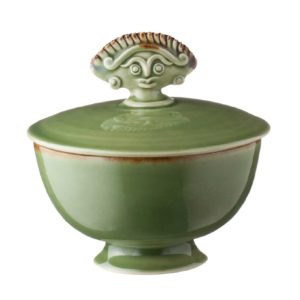 bowl cili dining green gloss with brown rim serving bowl