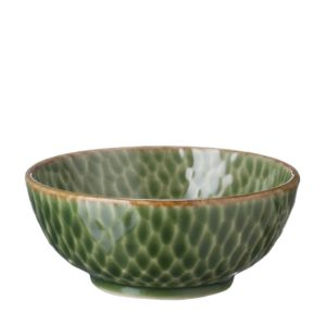 bowl grenn gloss with brown rim hammered