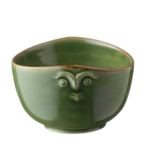 bowl cili dining green gloss with brown rim rice bowl