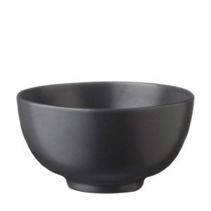 classic round rice bowl satin charcoal black