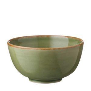 classic round grenn gloss with brown rim rice bowl