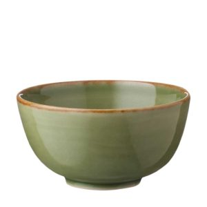 classic round grenn gloss with brown rim rice bowl