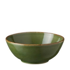 bowls clasic round green gloss with brown rim large soup bowl