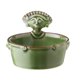 bowl cili collection dining green gloss with brown rim