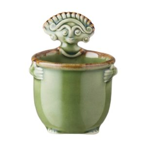 bowl cili dining green gloss with brown rim