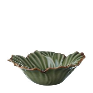 grenn gloss with brown rim hibiscus rice bowl