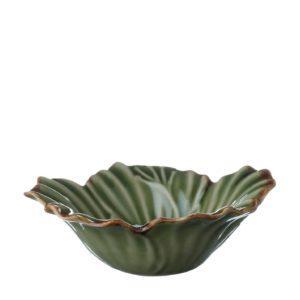 grenn gloss with brown rim hibiscus rice bowl