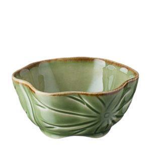 grenn gloss with brown rim lotus sauce bowl