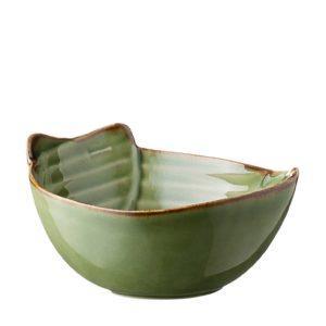 grenn gloss with brown rim pincuk rice bowl