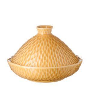 gloss yellow hammered tangine bowl