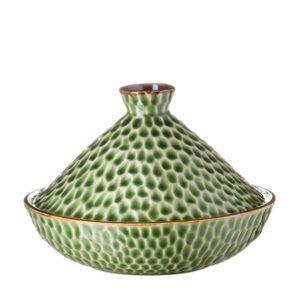 grenn gloss with brown rim hammered tangine bowl