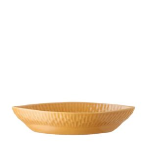 gloss yellow hammered oval bowl