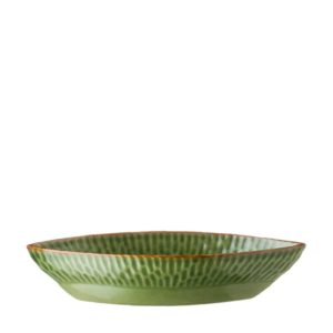 grenn gloss with brown rim hammered oval bowl