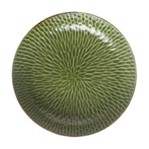 grenn gloss with brown rim hammered serving bowl