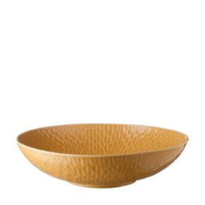 gloss yellow hammered serving bowl