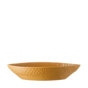 gloss yellow hammered hammered oval bowl
