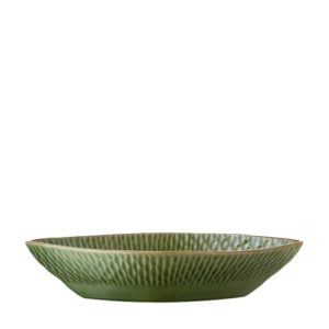 grenn gloss with brown rim hammered hammered oval bowl