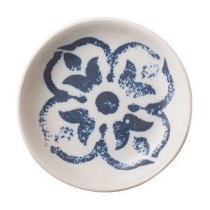 condiment dish dining indigo floral sauce bowl sauce dish