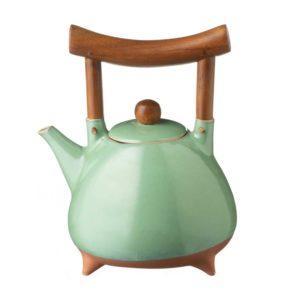 ceramic drinkware pasih seaform green stoneware teapot
