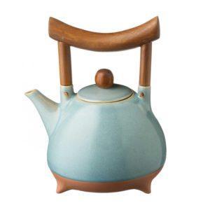 ceramic drinkware ocean blue pasih stoneware teapot