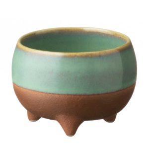 ceramic cup drinkware pasih seaform green small stoneware tripod