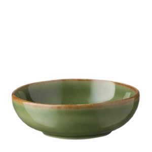 ceramic classic round condiment dish dining dining set green gloss with brown rim indonesian food sauce bowl sauce dish stoneware