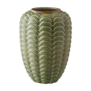 ceramic green gloss with brown rim stoneware vase