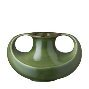 green gloss with brown rim stoneware vase