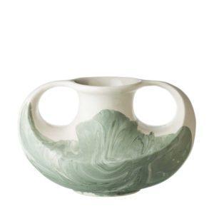 full marbling green marble stoneware vase
