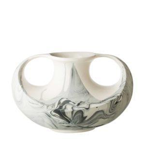 full marbling black marble stoneware vase