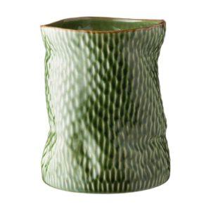 ceramic decorative green gloss with brown rim hammered stoneware vase