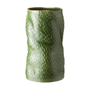 grenn gloss with brown rim hammered vase