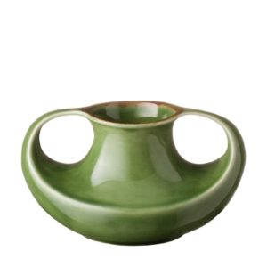 ceramic classic round green gloss with brown rim stoneware vase