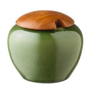 ceramic classic round coffee drinkware accessories green gloss with brown rim stoneware sugar sugar bowl tea teaset