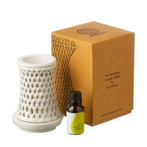 bendega candle candle holder essential oil burner shiny white