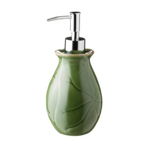 green gloss with brown rim lotus soap dispenser