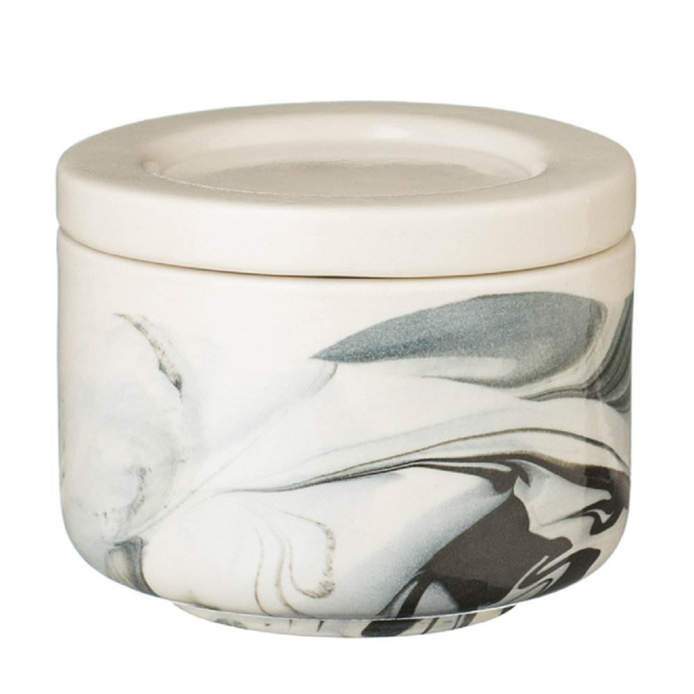 SMALL MARBLE JAR WITH LID