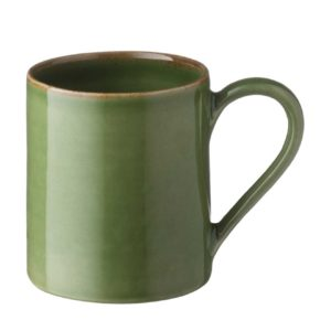 ceramic cup drinkware glass green gloss with brown rim mug stoneware water