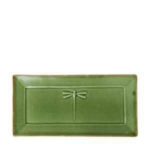 ceramic dining dining set dragonfly green gloss with brown rim indonesian food large medium plate rectangular plate shusi plate small stoneware