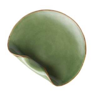 breakfast plate dining folded green gloss with brown rim plate