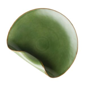 dining dinner plate folded green gloss with brown rim plate