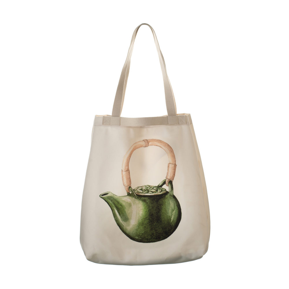 Tote Bag Frangipani Tea Pot Motif