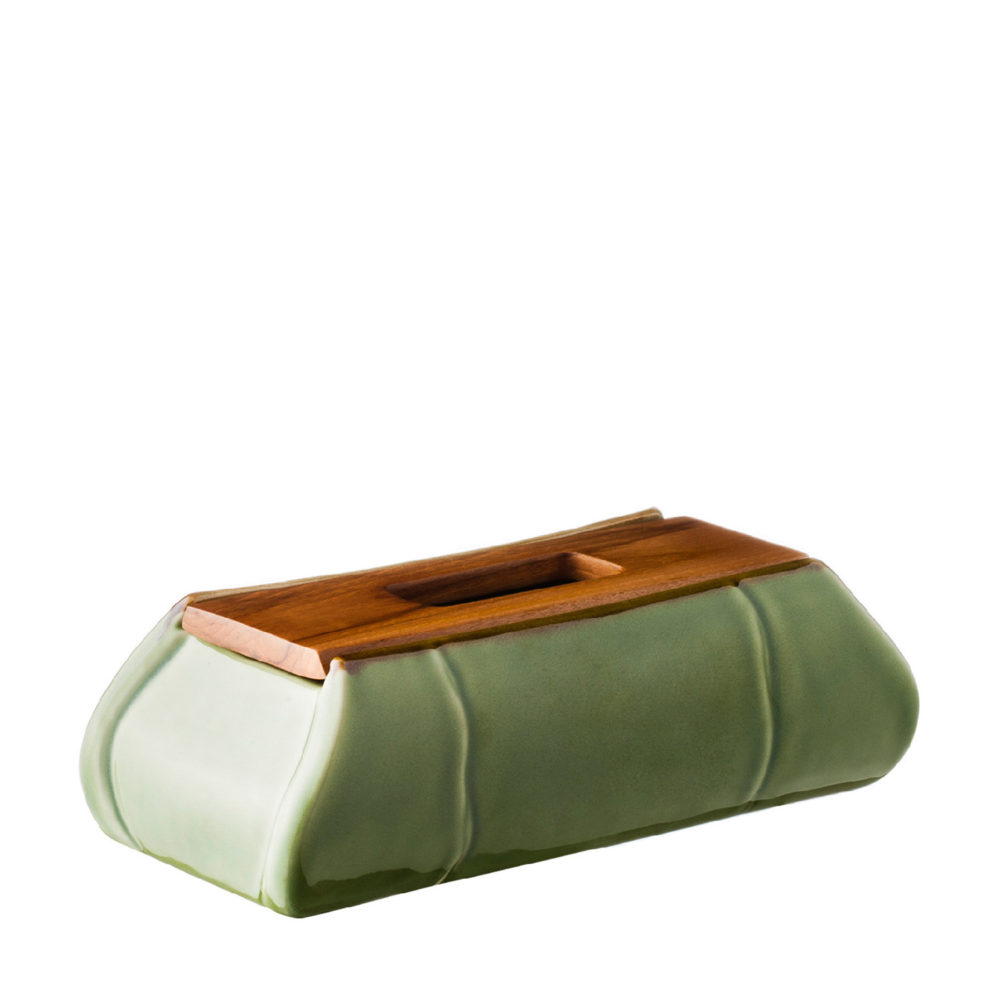 Bamboo Tissue Box With Wood Cover