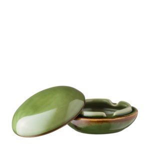ceramic ashtray green gloss with brown rim jenggala round round ashtray with cover