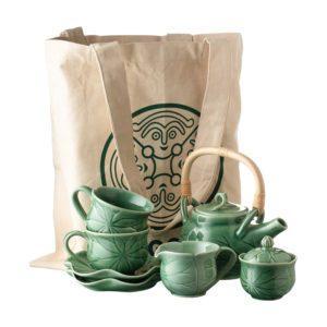 dark green gloss jenggala lotus medium medium lotus teapot set teapot set