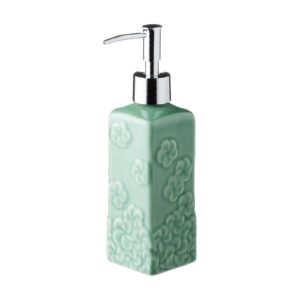 dark green gloss frangipani full patern full pattern frangipani square soap dispenser jenggala soap dispenser