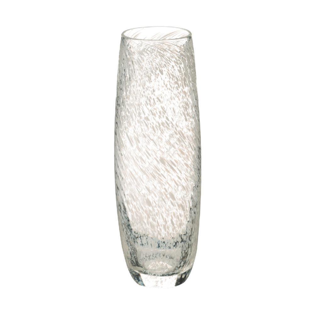Narrow Glass Vase - Speckled White